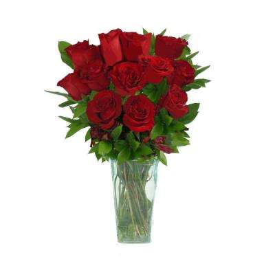 Red Rose Bouquet Gorgeous Fresh Cut Bouquet in a Clear Vase (12 Stem) Includes Overnight Shipping