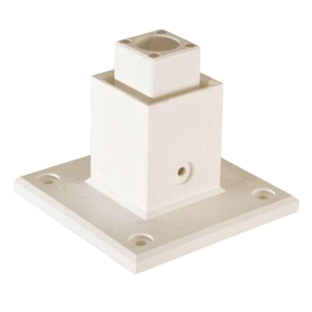 1.5 in. x 1.5 in. White Modular Vinyl Fence Panel Base Mount (10-Box)