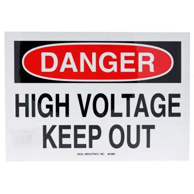 "Safety Sign, ""Danger High Voltage Keep Out"", Adhesive - (5-Pack)"