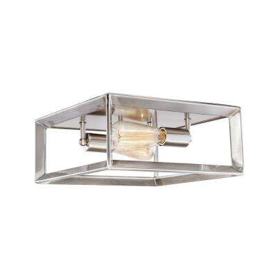 Lane 12 in. 2 -Light Brushed Nickel Flush Mount Light