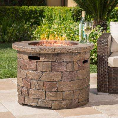 Stillwater 34.5 in. x 24 in. Natural Stone Circular Gas Outdoor Firepit