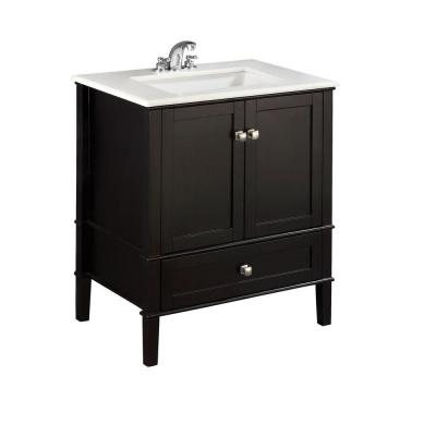Chesapeake 30 in. Bath Vanity in Midnight Black with Engineered Quartz Marble Vanity Top in White with White Basin