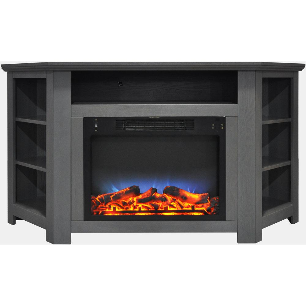 Stratford 56 in. Electric Corner Fireplace in Gray with LED Multi-Color