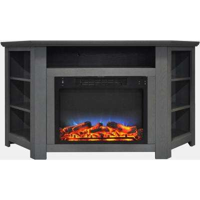 Stratford 56 in. Electric Corner Fireplace in Gray with LED Multi-Color Display