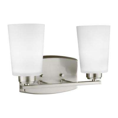 Franport 2-Light Brushed Nickel Bath Light with LED Bulbs