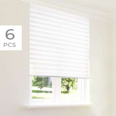 Cut-to-Size Refresh White Cordless Light-Filtering 6-Pack Paper Temporary Pleated Shades 36 in. W x 72 in. L
