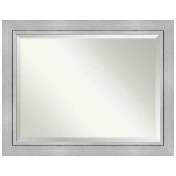 Romano 47 in. W x 37 in. H Framed Rectangular Beveled Edge Bathroom Vanity Mirror in Burnished Silver