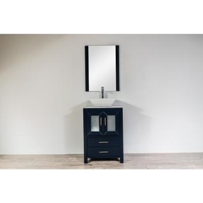 Newport 24 in. W x 18 in. D Vanity in Navy with Marble Top, White Ceramic Basin and Mirror