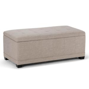 Westchester 45 in. Contemporary Storage Ottoman in Natural Linen Look Fabric