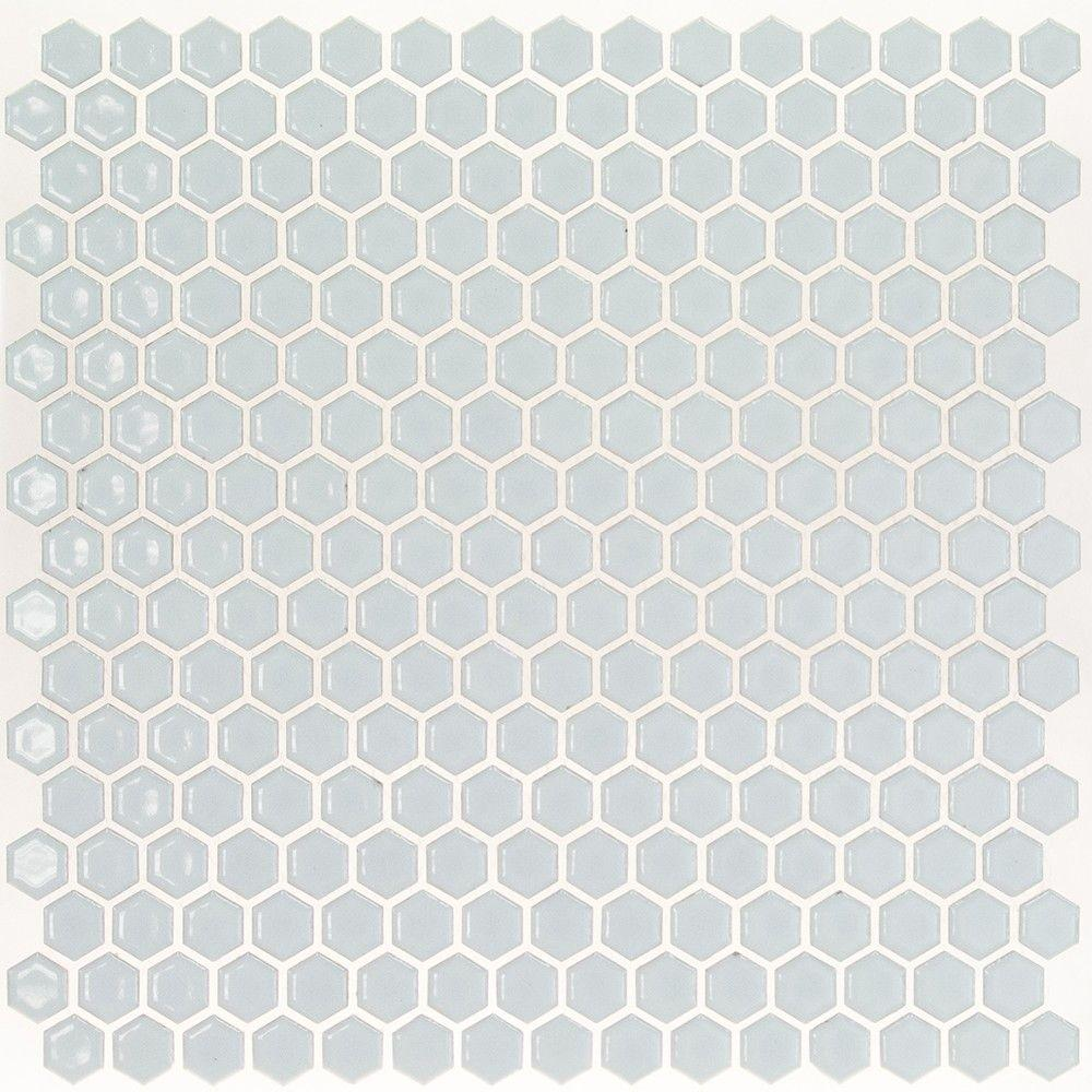 Bliss Edged Hexagon Polished Modern Gray Ceramic Mosaic Floor and Wall