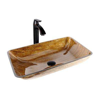 Glass Vessel Sink in Amber Sunset and Linus Faucet Set in Antique Rubbed Bronze