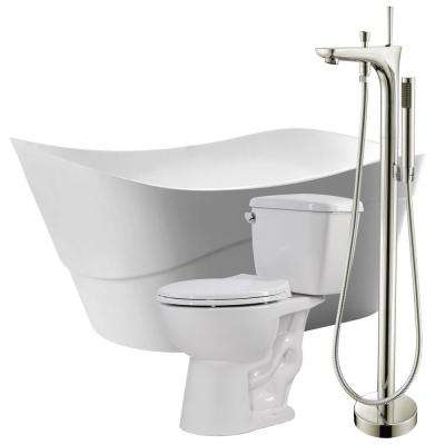 Kahl 67 in. Acrylic Flatbottom Non-Whirlpool Bathtub with Kase Faucet and Author 1.28 GPF Toilet
