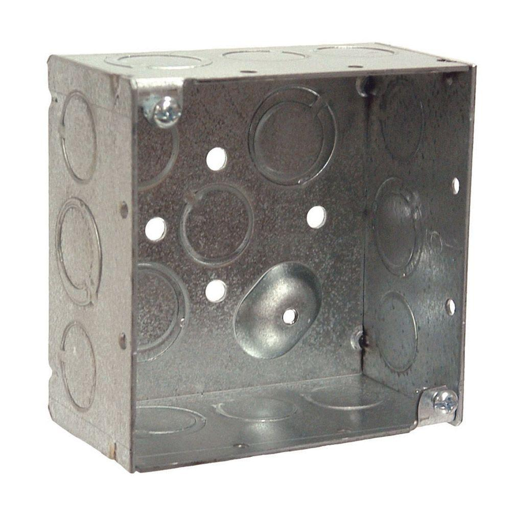 4 in. Square Welded Box, 2-1/8 Deep with 1/2 and 3/4