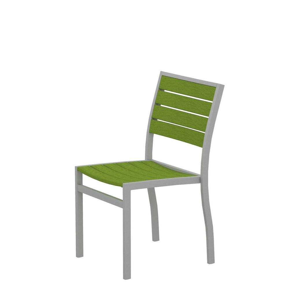 Polywood Euro Textured Silver Patio Dining Side Chair With Lime Slats