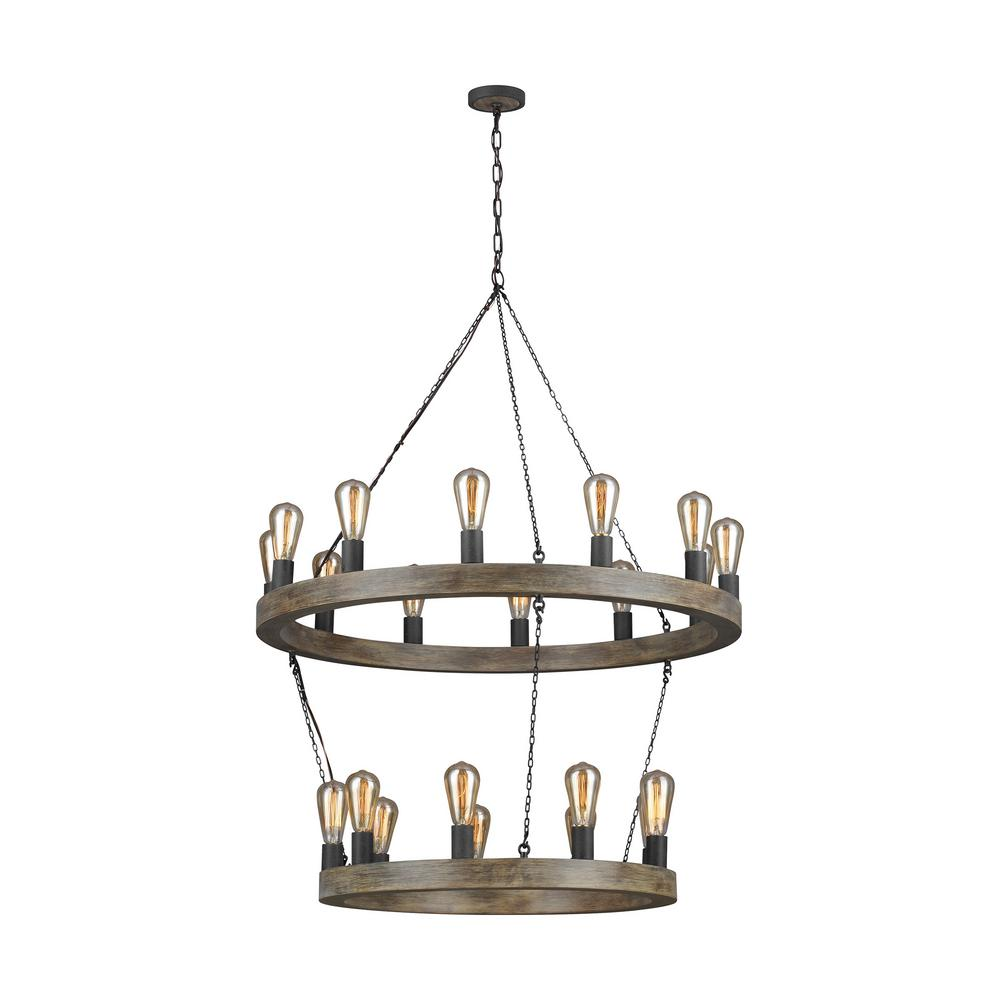 Avenir 21-Light Weathered Oak Wood and Antique Forged Iron Chandelier