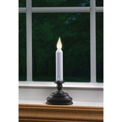 8.5 in. Warm White LED Standard Battery Operated Candle with Aged Bronze Base
