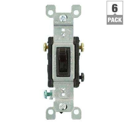 15 Amp 3-Way Toggle Switch, Brown (6-Pack)