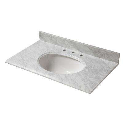 37 in. W x 22 in. D Marble Vanity Top in Carrara with White Basin