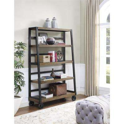 Wade Rustic Gray Mobile Ladder Bookcase