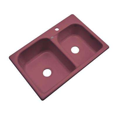 Cambridge Drop-In Acrylic 33 in. 1-Hole Double Bowl Kitchen Sink in Raspberry Puree