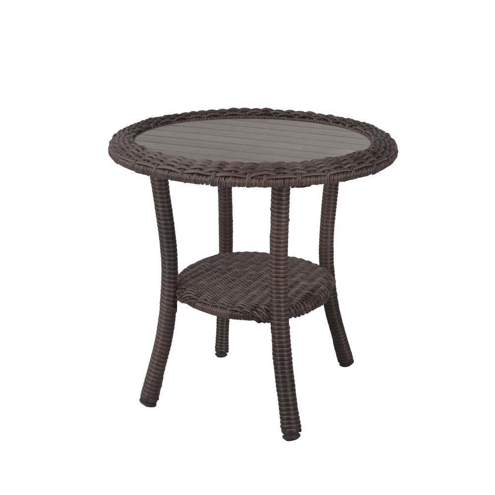 Cambridge Grey Round Resin Wicker Outdoor Side Table
