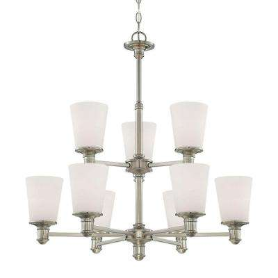 9-Light Satin Nickel Chandelier with Etched White Glass