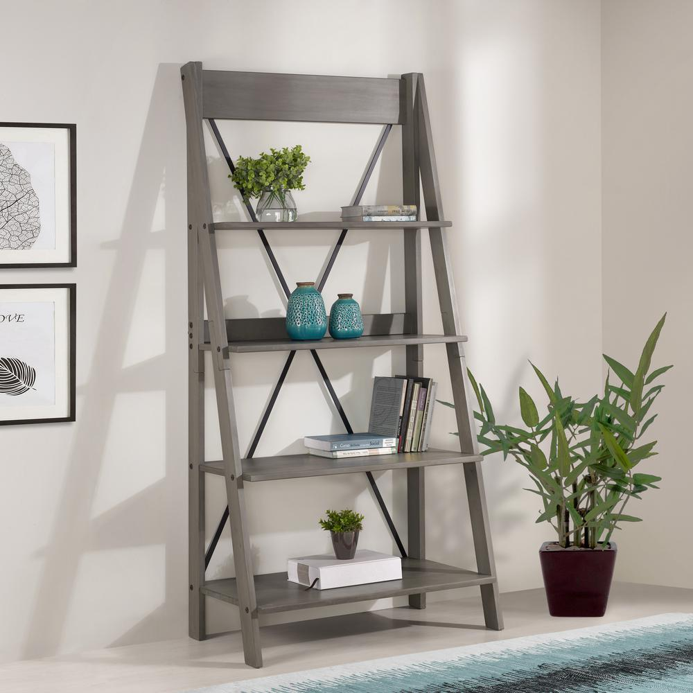 68 in. Gray Wood 4-shelf Ladder Bookcase with Open Back