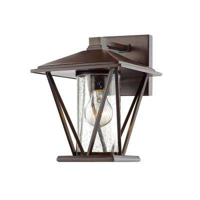 10.25 in. 1-Light Powder Coated Bronze Outdoor Wall Lantern Sconce with Glass Shade