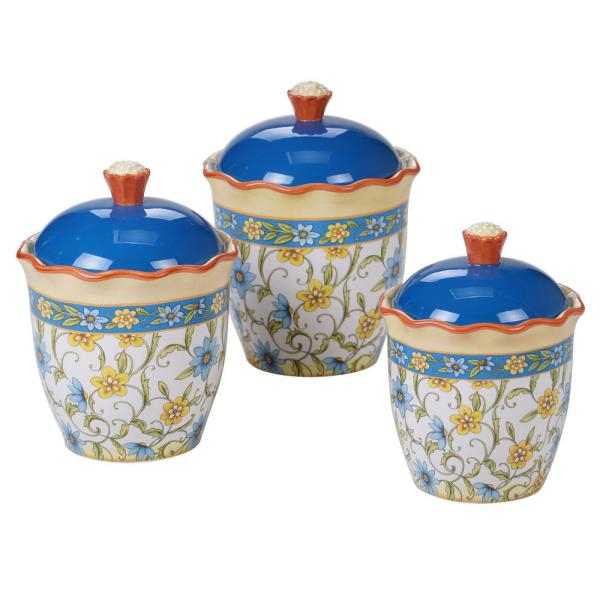 Torino 3-Piece Country/Cottage Multi-Colored Ceramic 30, 48, 64 oz. Canister Set