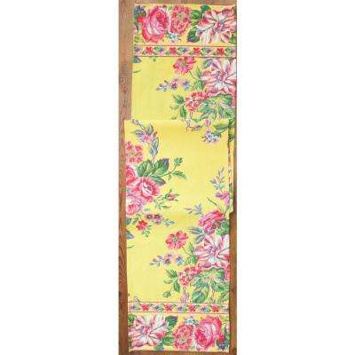 Gold Vivian Floral 13 in. x 72 in. Table Runner