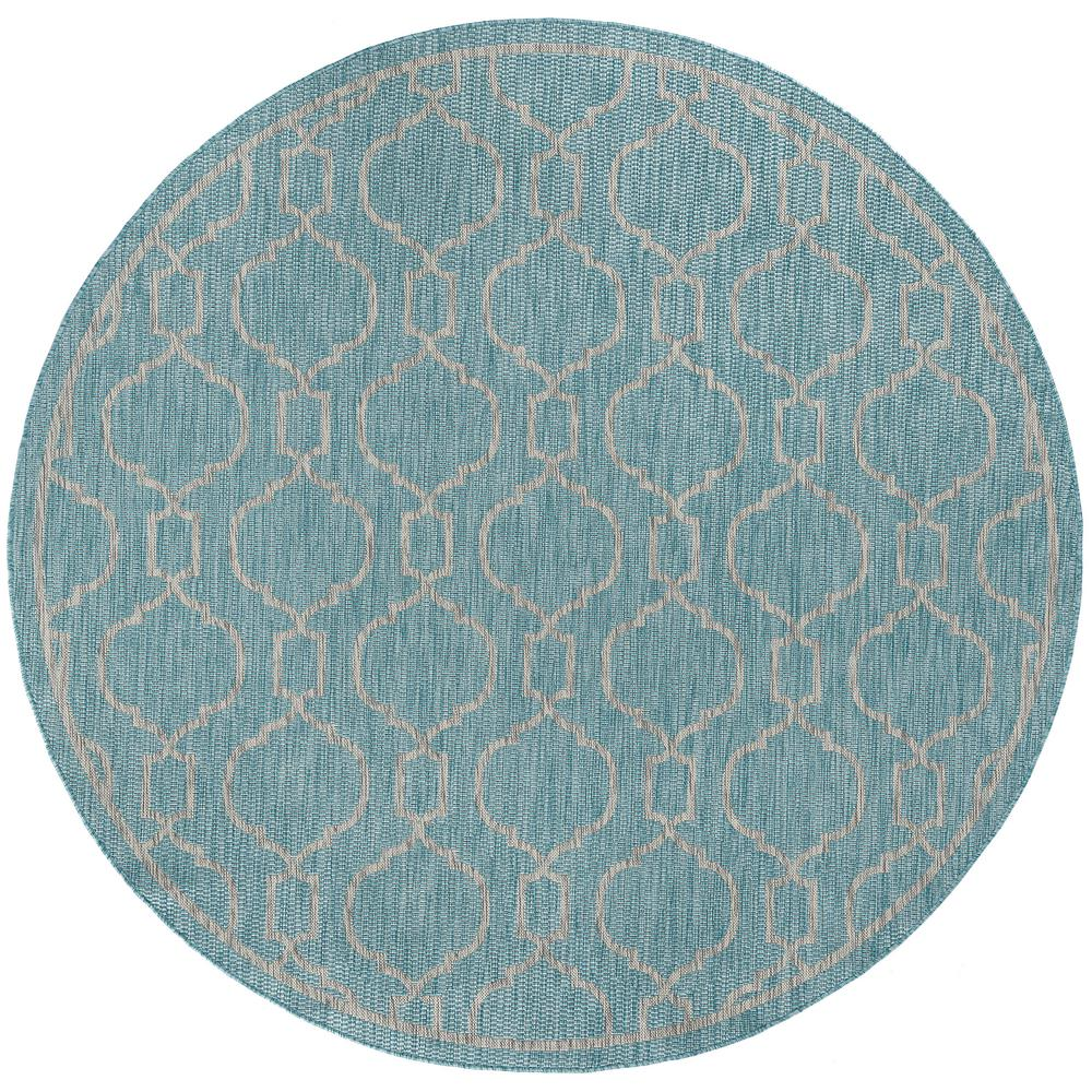 Tayse Rugs Veranda Aqua 7 Ft 10 In X 7 Ft 10 In Indoor