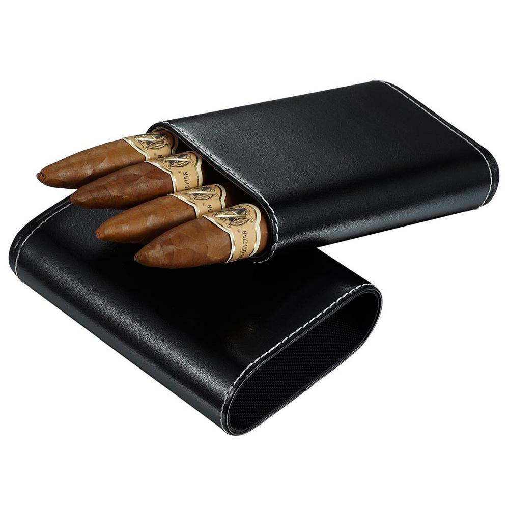 Arnoldo Black Leather Crushproof Cigar Case with Interior Cedar Lining
