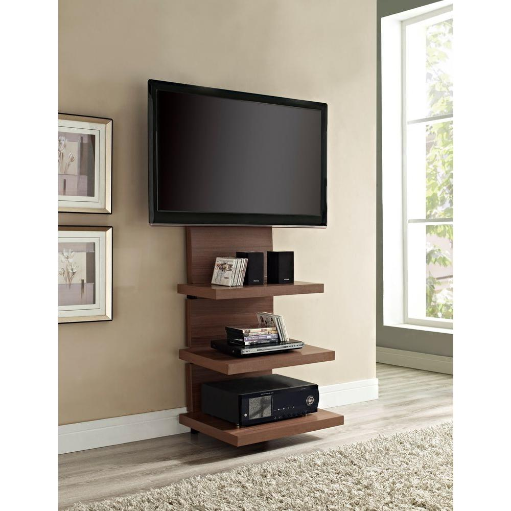 Altra Furniture Elevation Walnut Entertainment Center 1186196 The Home Depot