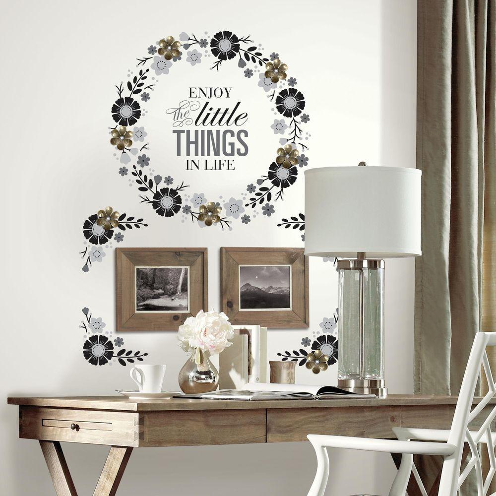 Self Adhesive Wall Frame Decals Black//White Flower Set