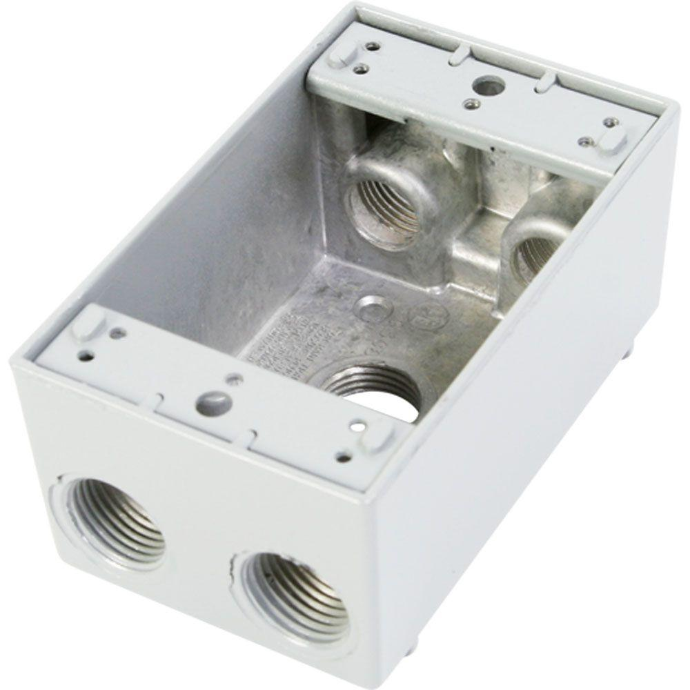 1 Gang Weatherproof Electrical Outlet Box with Five 1/2 in. Holes