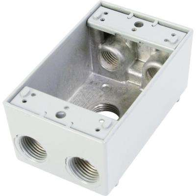 1 Gang Weatherproof Electrical Outlet Box with Five 1/2 in. Holes - White