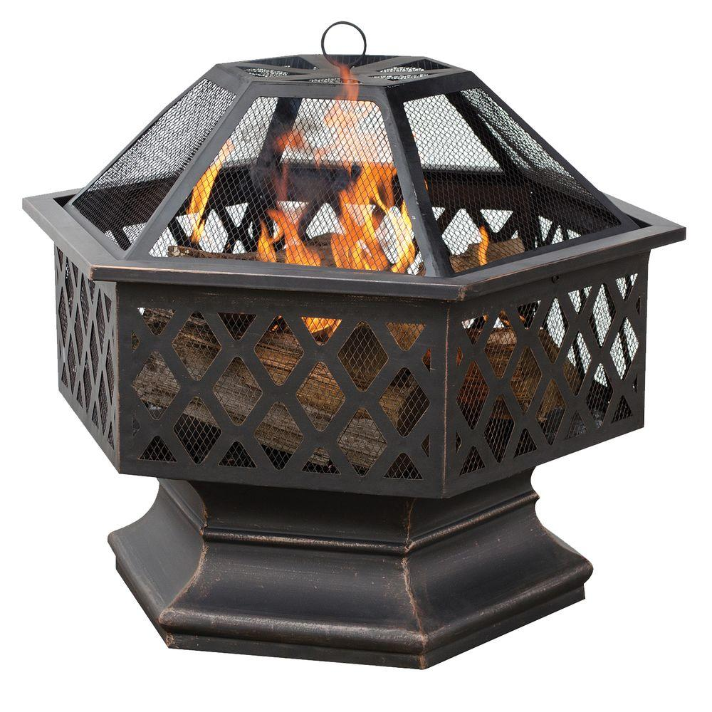 Hex Shaped Lattice Fire Pit in Oil Rubbed Bronze - UniFlame 24 In. Hex Shaped Lattice Fire Pit In Oil Rubbed Bronze