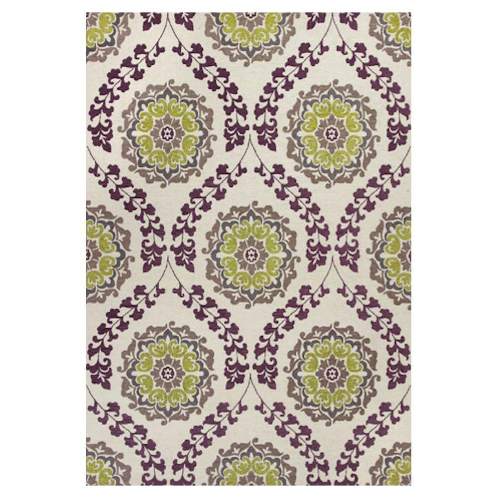 Kas Rugs Tapestry Weave Ivory/Purple 7 ft. 9 in. x 9 ft. 9 in. Area Rug