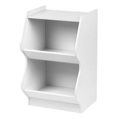 White 2-Tier Curved Edge Storage Shelf