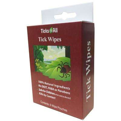 Ticks-N-All Ready-To-Use All Natural Tick Repellent Wipes (6-Count Box)