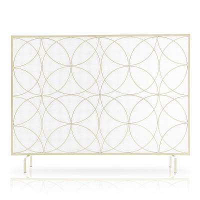 Single-Panel Gold Freestanding Spark Guard Protector Gate Fireplace Screen