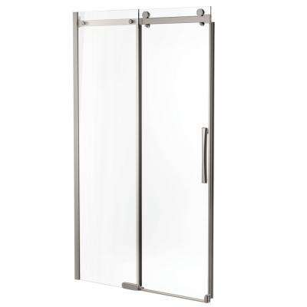 48 in. x 72 in. Semi-Framed Sliding Shower Door in Stainless