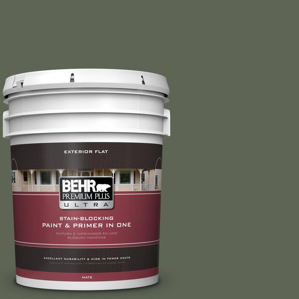 BEHR Premium Plus Ultra 5-gal. #BXC-06 Amazon Foliage Flat Exterior Paint