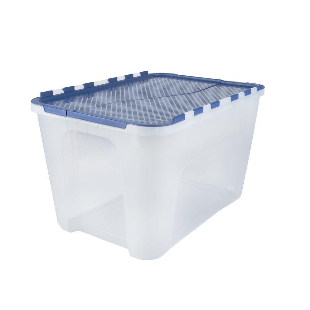 12 Gal. Flip-Top Storage Tote (4-Pack), Blue/Clear