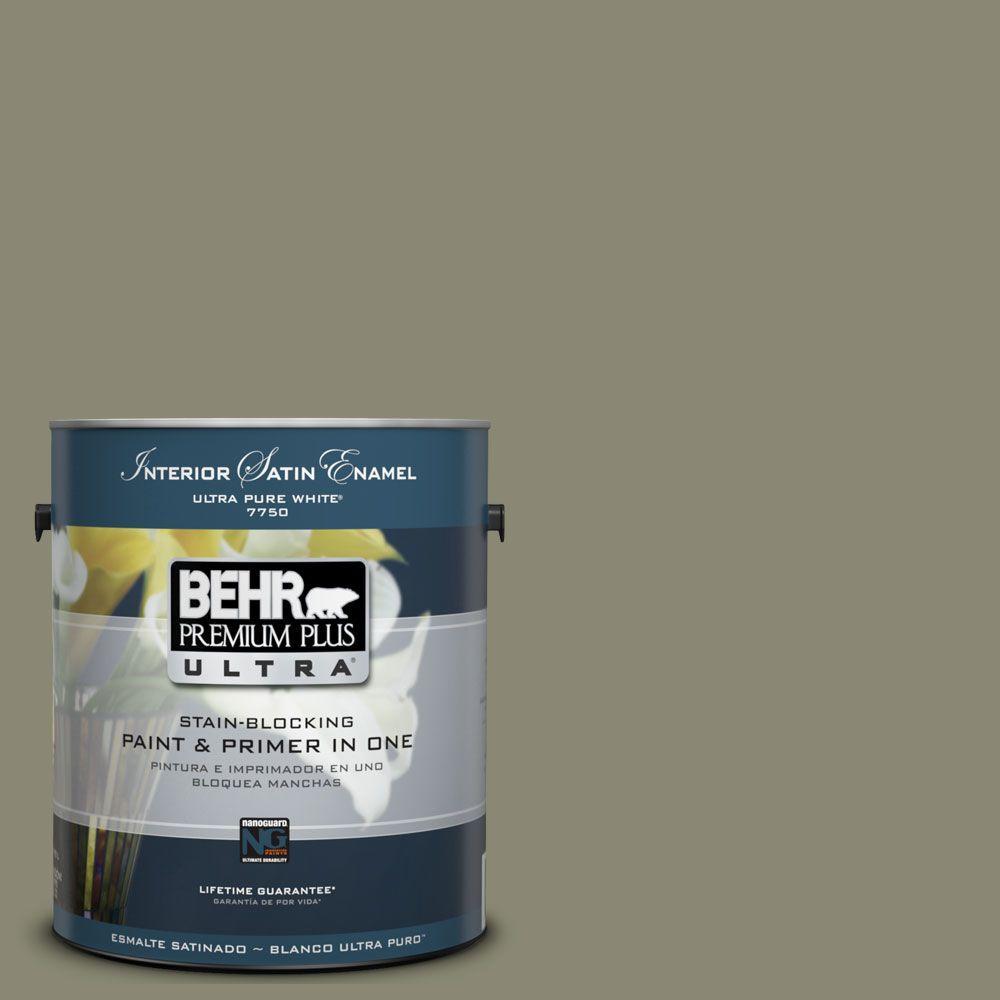 BEHR Premium Plus Ultra 1-Gal. #UL200-5 Dried Basil Interior Satin Enamel Paint