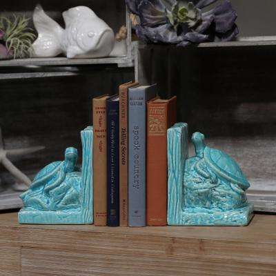 6.5 in. H Turtle Decorative Sculpture in Turquoise Gloss Finish (Set of 2)