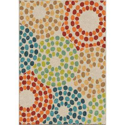 Polka Circles Multi 5 ft. x 8 ft. Indoor/Outdoor Area Rug