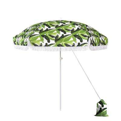6.5 ft. Fiberglass Market Beach Patio Umbrella in Multi-Color