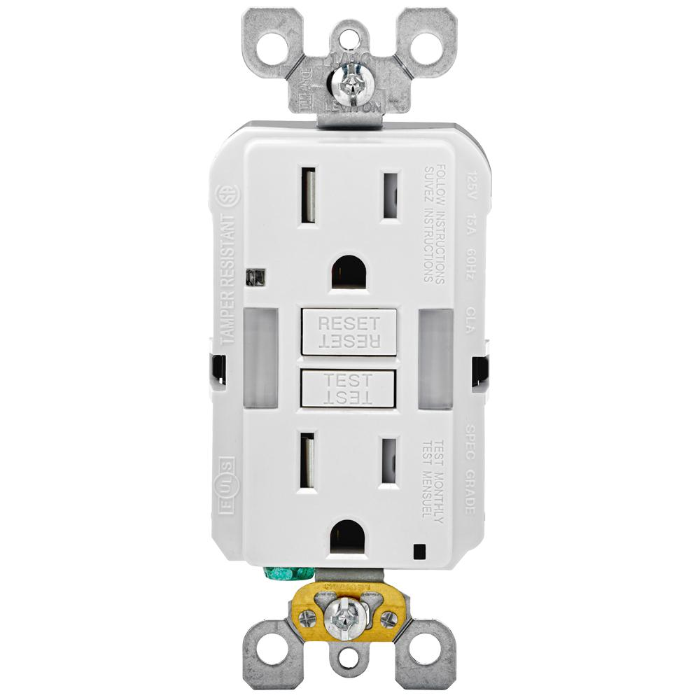 Leviton 15 Amp 125-Volt Combo Self-Test Duplex Guide Light and ...