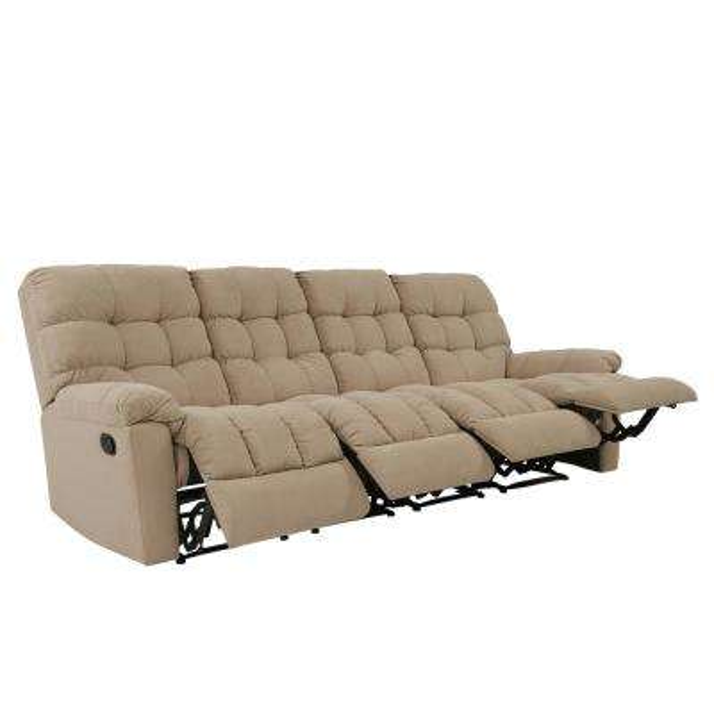4-Seat Tufted Recliner Sofa in Barley Tan Plush Low-Pile Velvet